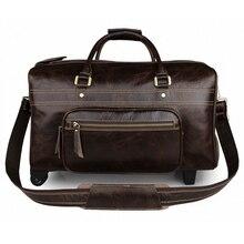 Männer High-end-echtes Leder Gepäcktasche Kuh Leder Reisetaschen Vintage Trolley Gepäcktasche Handtasche