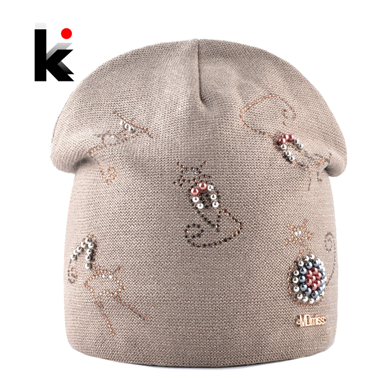 Winter Knitted Hats For Women New Fashion Beanie With Cute Rhinestone Pearls Cats High Quality Cap Ladies Knit Skullies Bonnet