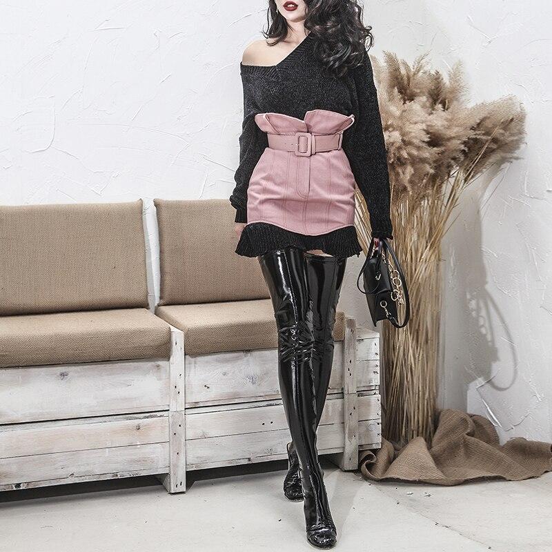 2017 V Pull Adapte Type Élégant Une Lâche Sexy Tendance Tactile Taille Automne Extensible Chaud Noir cou Section Tissu Femmes Tous rIwYqBrC