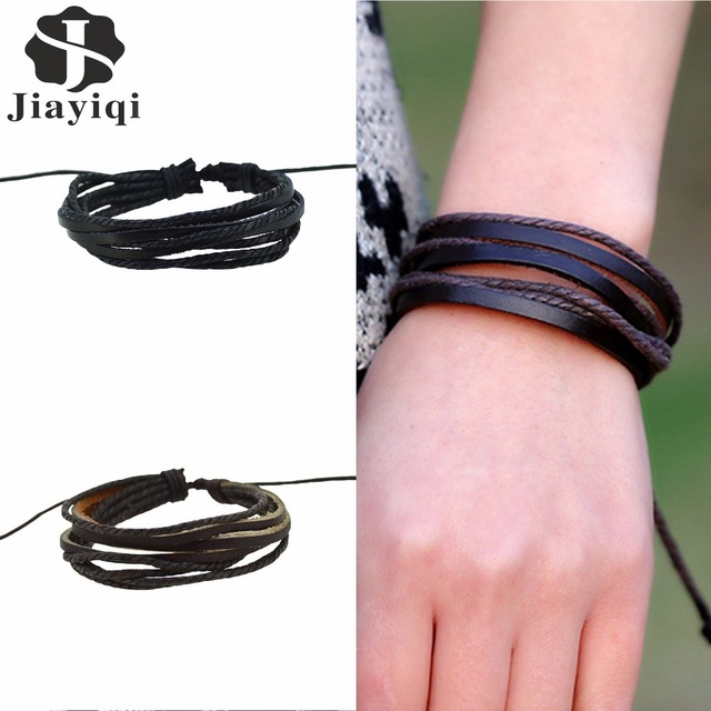 Jiayiqi 2017 New Brand Punk Braided Rope Wrap Leather Bracelets & Bangles for Women Jewelry 500 pieces/set