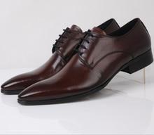 Мода черный/коричневый загар острым носом мужские ботинки платья свадебные туфли Из Натуральной кожи оксфорды мужские бизнес обувь