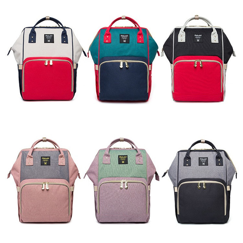 20L Capacity Oxford Korean Style Out Travel Storage Bags Plain Soft Handle  Patchwork Hit Color Backpack 407a77903399f