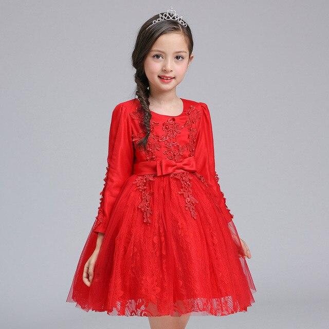 c159610ed8711 Automne hiver dentelle fleur fille robe enfants enfants formelle robe de  soirée de mariage fille rouge