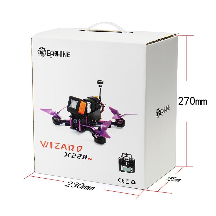 Eachine Wizard X220S F4 5.8G 72CH 30A Dshot600 800TVL Flysky FS-i6X Transmitter w/ A8S Receiver RTF  FPV Racer RC Drone 18