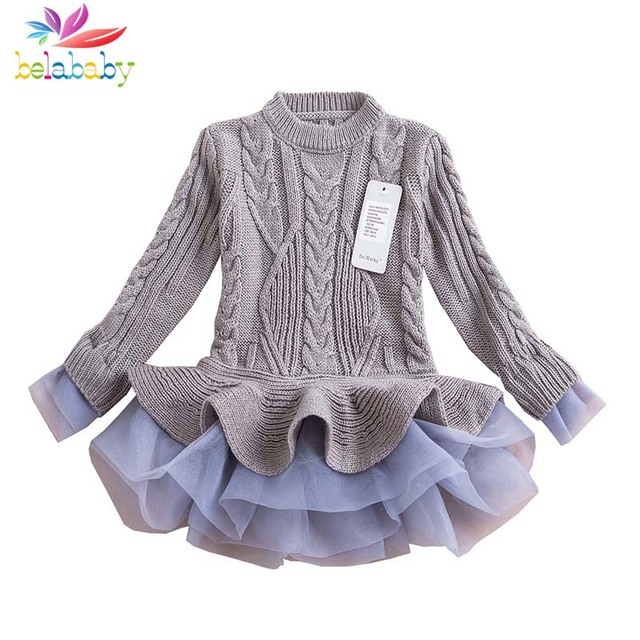 Belababy Girl Winter Dress 2017 Fashion Autumn Princess Girl Long Sleeve Sweater TuTu Dress Kids Christmas Dresses For Girls