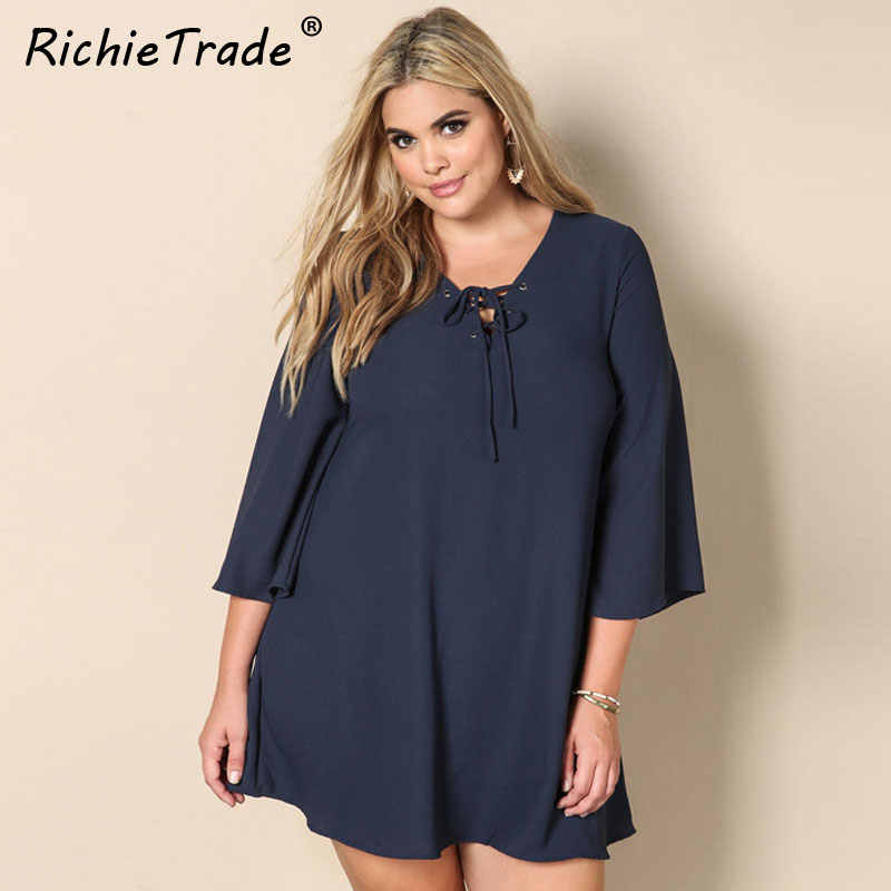 RICHIETRADE Solid Navy Lace Up Neck Women Dress Plus Size Loose Casual  Chiffon Dresses Summer 2017 6fd42ed12bff
