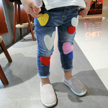 Brand BuDingxiong 2017 New Kids Girls Jeans Pants Girls Sweet Heart Girls Denim Trousers Elastic Waist Jeans with Embroidery