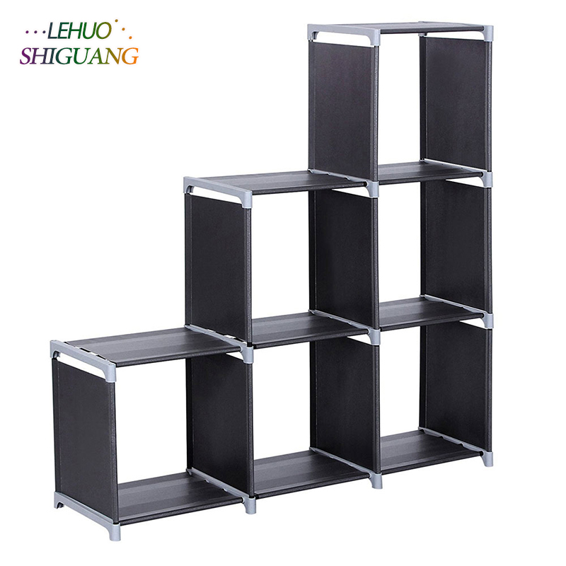 3 Tiers 6 Compartments Storage Shelf Non Woven Fabric Bookshelf Organizer Cabinet Bookcase Home Living Room Furniture In Bookcases From On