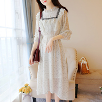 fa15aa4808 Summer Dress Women 3 4 Sleeve Floral Print Long Chiffon Dresses Japan Style