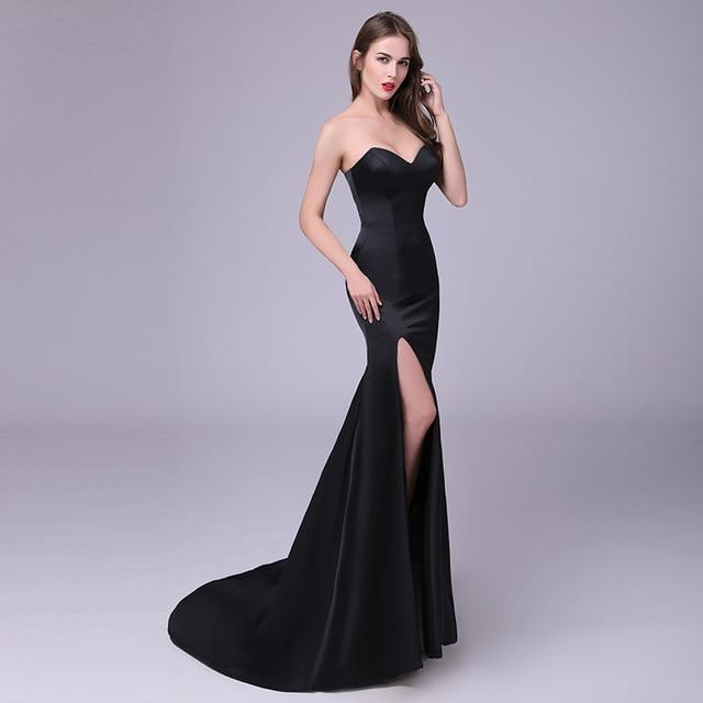 Custom Plus Size 2017 Verano Mujer Sexy Vestido Negro de Split ...
