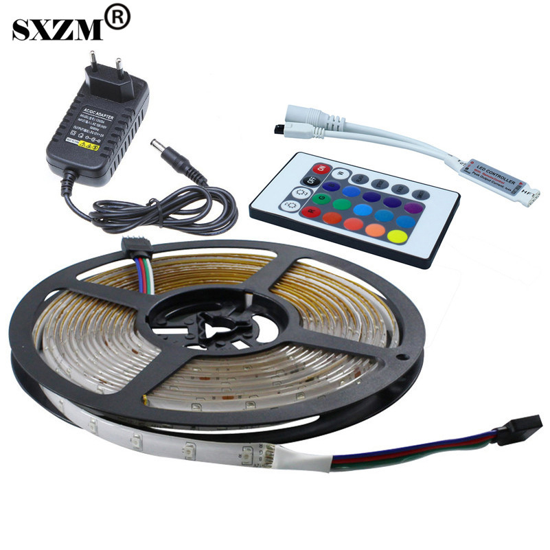 DC12V Waterproof 3528 RGB LED Strip Flexible Tape+Mini 24key IR remote controller+12V 2A Power adapter outdoor led lighting