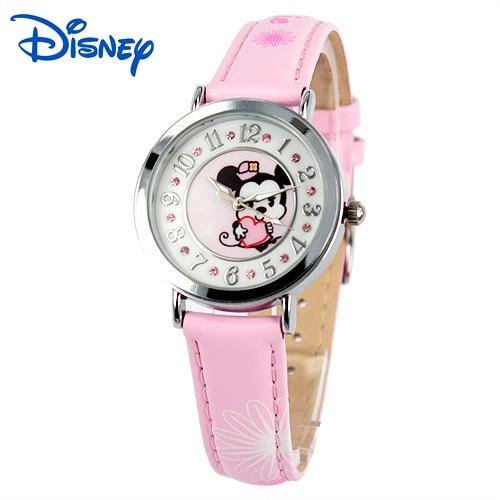 kids girls wrist watches children leather clocks quartz waterproof wristwatches Disney Mickey cartoon DC 54029