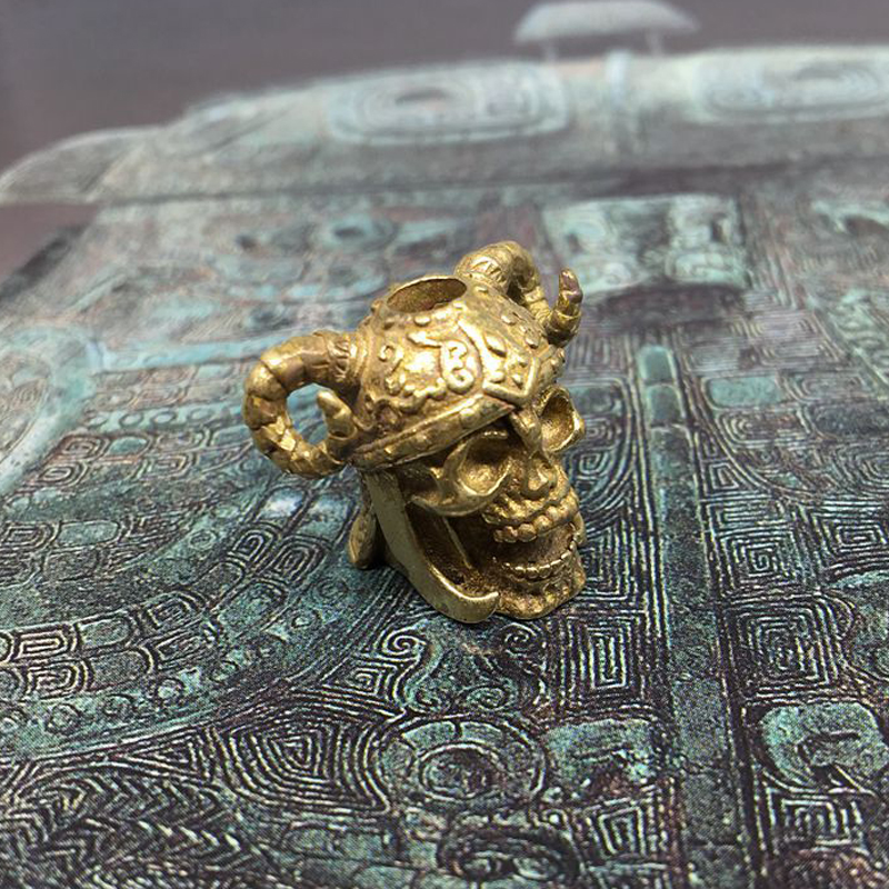 Brass Knife Skull Beads Umbrella Rope Cord Outdoor Knife Gadgets Pendant(China)