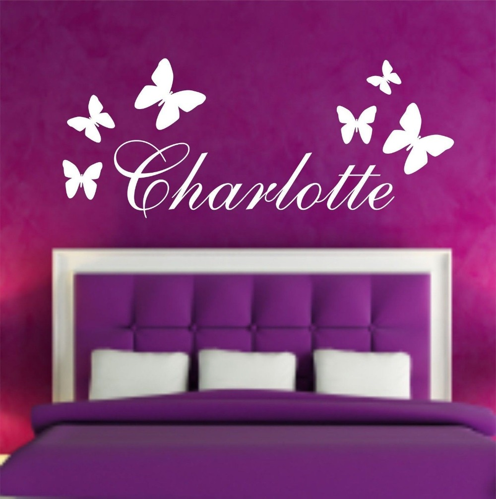 Personalised Butterfly Any Name Vinyl Wall Sticker Art Decal Kids Bedroom Wall Decals Wall Stickers for kids room mural D612