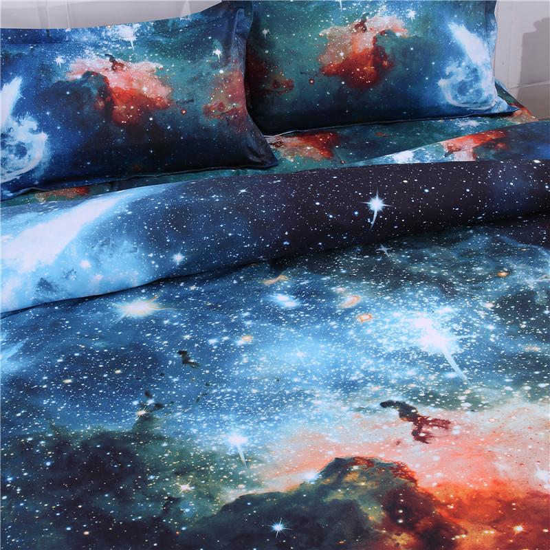 iDouillet 3D Nebala Outer Space Star Galaxy Bedding Set 2/3/4 pcs Duvet Cover Flat Sheet Pillowcase Queen Twin Size 13