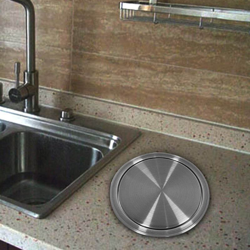 Trash Bin Counter Top Cover Built in Flap Garbage Can Lid For Kitchen Bathroom
