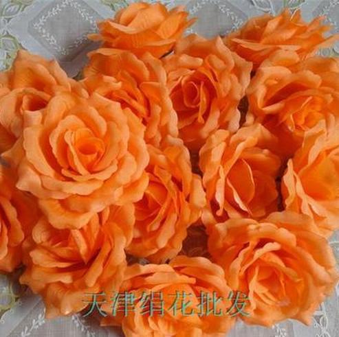50 шт. искусственная Камелия Роза Пион Свадебные цветы декоративные искусственные цветы несколько цветов - Цвет: orange