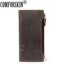 COMFORSKIN Genuine Crazy Leather Men Organizer Wallets 100% Guaranteed Soft New Arrivals Business Clutches Purse Best Price