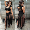 Solid 2017 Summer Fashion Women Sheath Long Dress Two Pieces Sleeveless Tassel Hollow Out Sexy Club