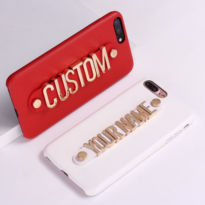 Custom Leather Gold Metal Letters Iphone Name Case X Xr Xs Xs Max 5 6 6 7 7 8 8 Wirednext