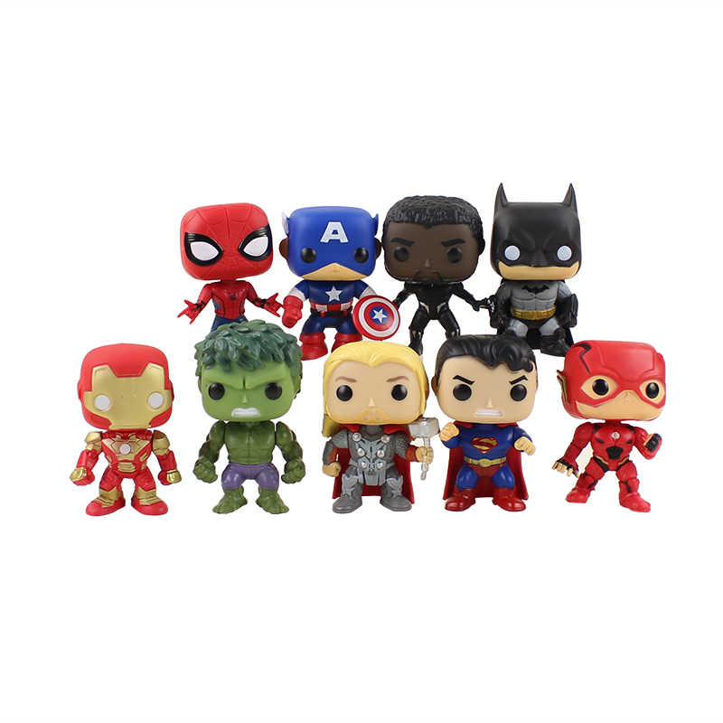 9 pçs/lote Figuras Super Herói Homem de Ferro Preto Pantera Flash Superman Spiderman Batman Hulk Thor Action Figure Modelo Brinquedos Presentes
