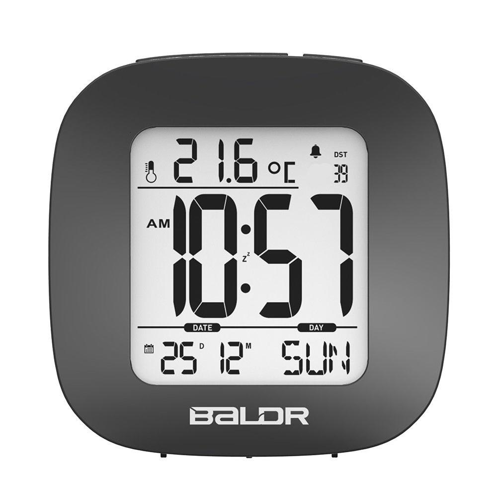Baldr Mini LCD Digital Alarm Clock Desk Snooze Clock Time Thermometer Calendar Temperature Sensor Timer Watch Travel Clock