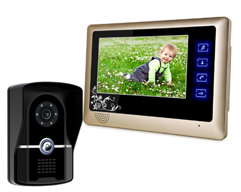 7 Inch Touch Button 700 TVL Two Way Intercom Video Door Phone