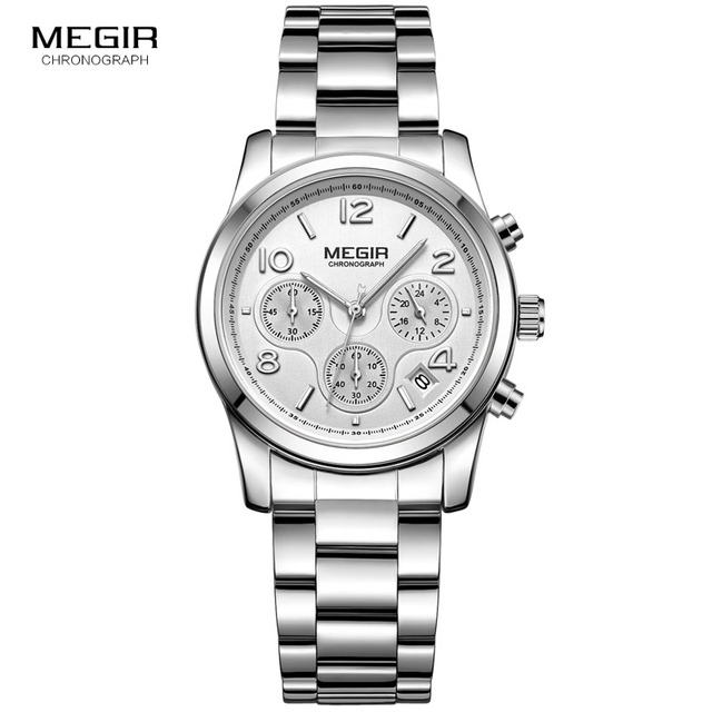MEGIR Chronograph นาฬิกาผู้หญิง Relogio Feminino แบรนด์หรูสุภาพสตรีกีฬานาฬิกาข้อมือนาฬิกาผู้หญิงคนรักนาฬิกาข้อมือชั่วโมง xfcs