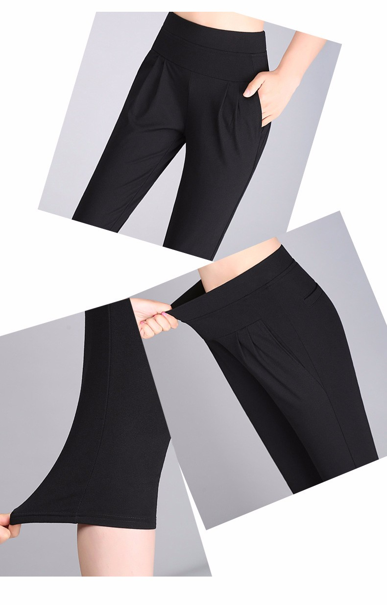 Plus Size S-4XL Harem Pants Women Solid Elastic Calf Length Summer Pants Casual High Waist Sport Pants Capris Trousers 2016 A313 h