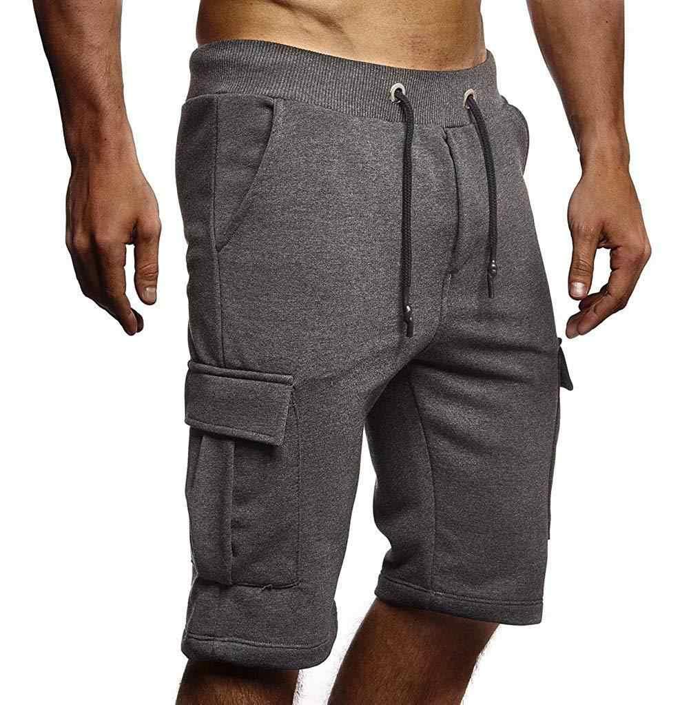 Свободные абсолютно тренировки мужские шорты для бега однотонные, до колена Shortpants Повседневное карманы, набедренный хип-хоп Уличная шнурок мужские шорты