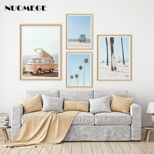 Scandinavian Tropical Landscape Posters and Prints Sea Beach Bus Wall Art Poster Nordic Decoration Pictures for Living Room
