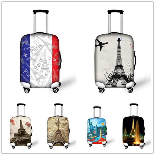 564ac6846 Fashion Paris Eiffel Tower Travel Luggage Protective Covers Elastic Thick  Rain Dust Cover for 18 20 22 24 26 28 30 Inch Suitcase