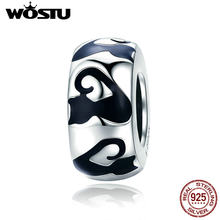 WOSTU 100% 925 Sterling Silver Cute Cat Hot Sell Charm Bead Fit Original Bracelet Pendant 2019 Fashion Woman Jewelry Gift CQC825(China)