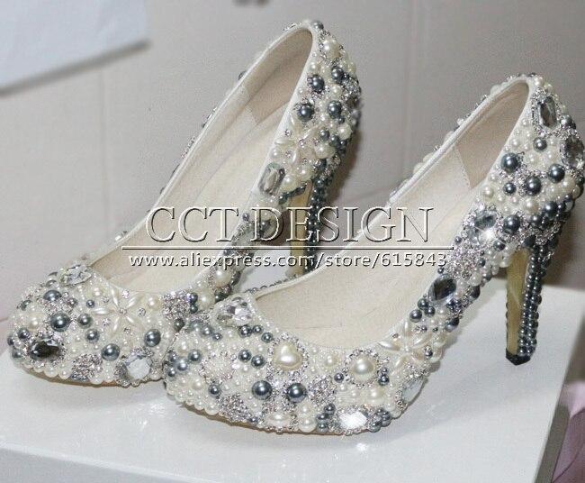 Wedding High Heels Ivory: Sexy Women Grey Wedding Shoes With Ivory Pearls Rhinestone
