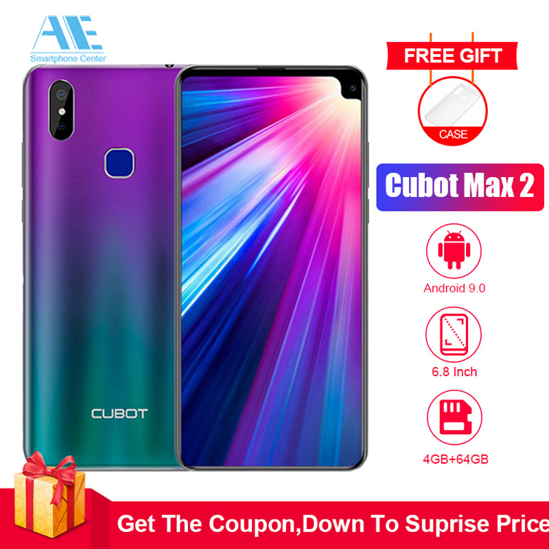 Cubot Max 2 6.8 Inch HD 19:9 4GB 64GB MT6762 Octa Core Smartphone Android 9.0 5000mAh Dual Rear Cameras 6P Lens 4G LTE Cellphone smartphone