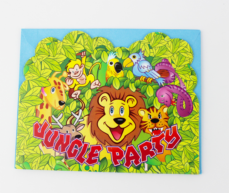 6pcs Envelop Shape Jungle Party Theme Party Invitation Card Kids ...