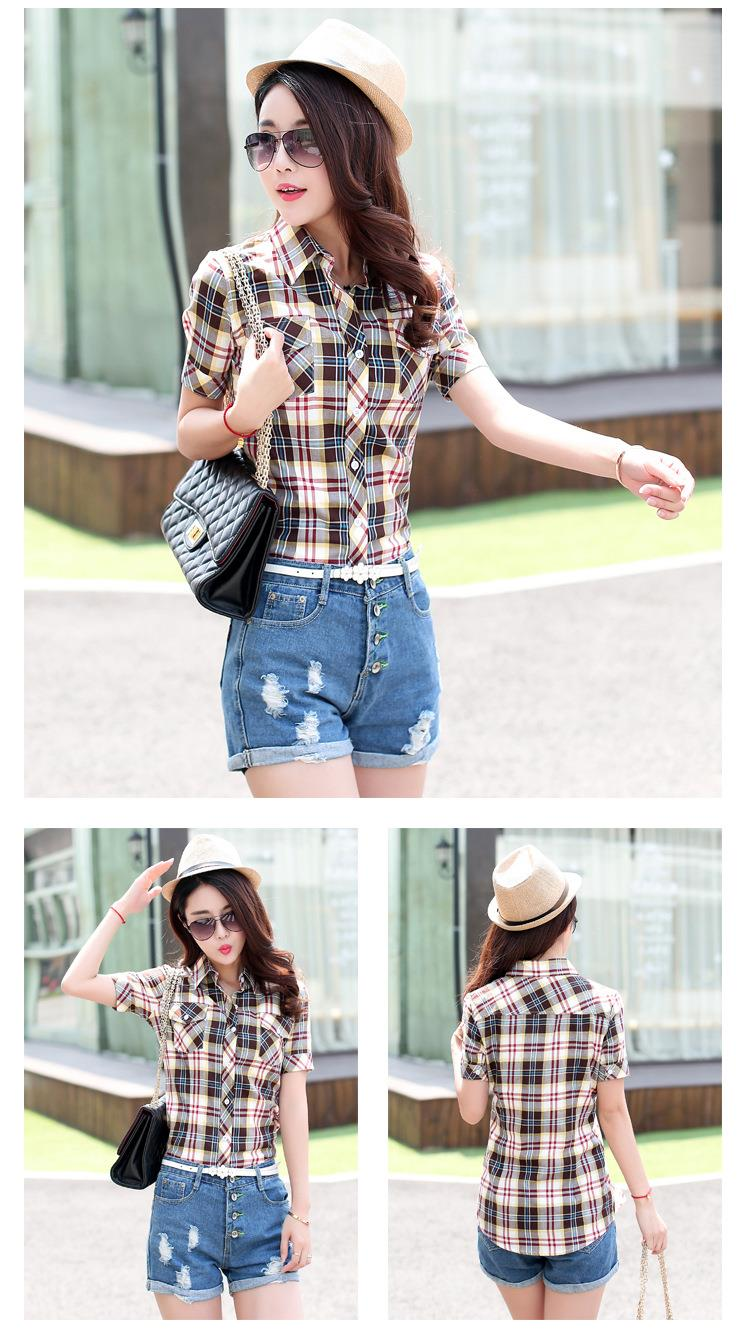 HTB1p8H1JFXXXXccXpXXq6xXFXXXp - New 2017 Summer Style Plaid Print Short Sleeve Shirts Women