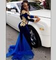 Mangas compridas sereia vestidos de noite azul royal velvet robe de soiree boat neck apliques de renda africano preto menina prom dress