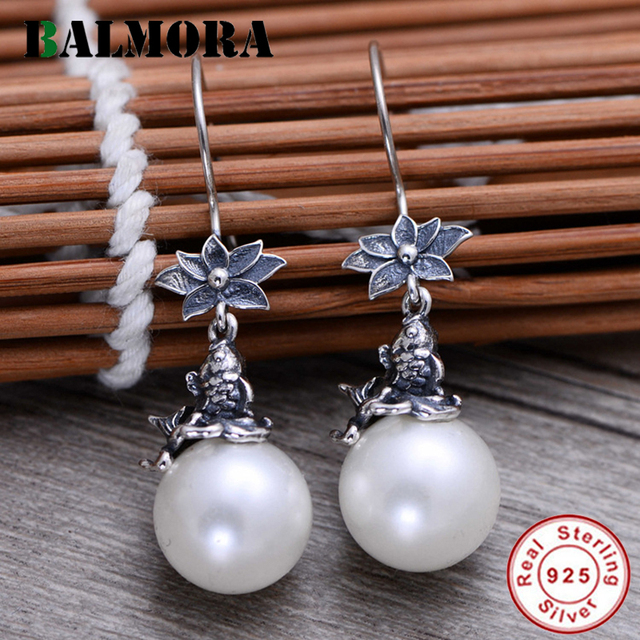 BALMORA 925 Sterling Silver Simulated-Pearl Lotus Carp Dangle Earrings for Women Lady Bijoux Fashion Jewelry Brincos JWE057242