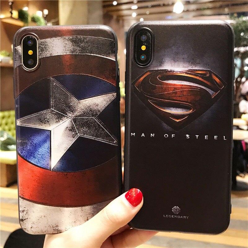 Marvel 3D superhero The Avengers Batman Iron Man for Coque iPhone 6 6s 7 8 X Plus phone soft Cover for iPhone 5 5s SE case