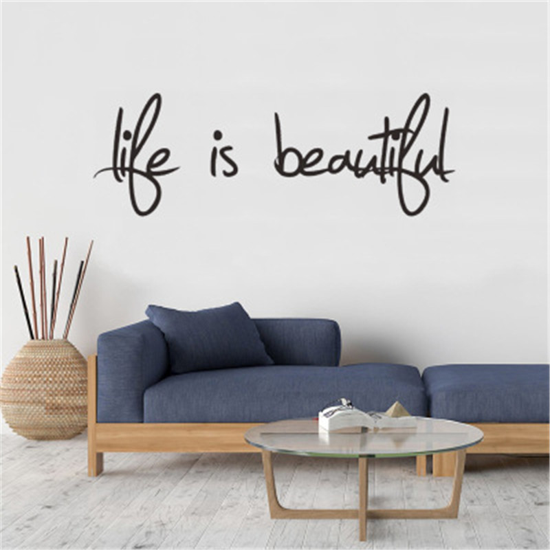 Life Is Beautiful Inspiring Quotes Wall Stickers Home