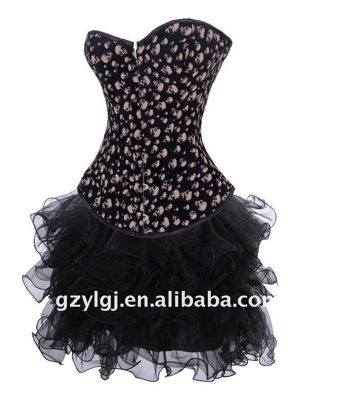 Sexy Lingerie  fancy dress costume skull print Bustiers corset & skirt  S--XL  2769