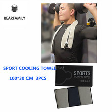 BEAR FAMILY 3PCS High quality Sport Cooling Towel Ice Gym For Fitness Hip-hop Yoga Swimming Travel 100*30CM