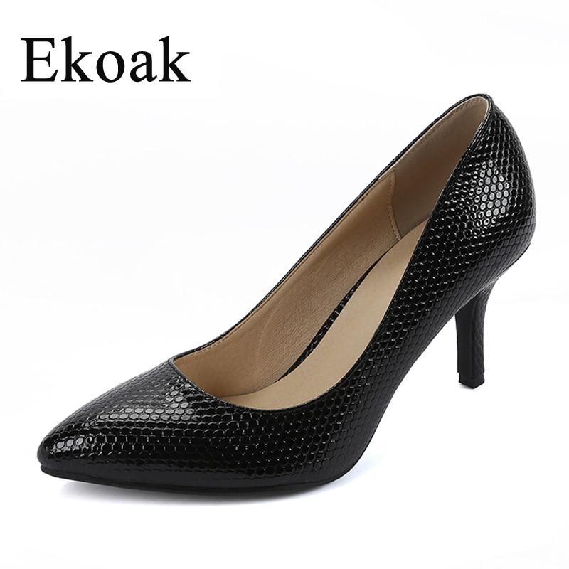 Ekoak New 2018 women Genuine Leather high heels Sexy pointed toe Scales OL women pumps Fashion Handmade Sheepskin shoes woman