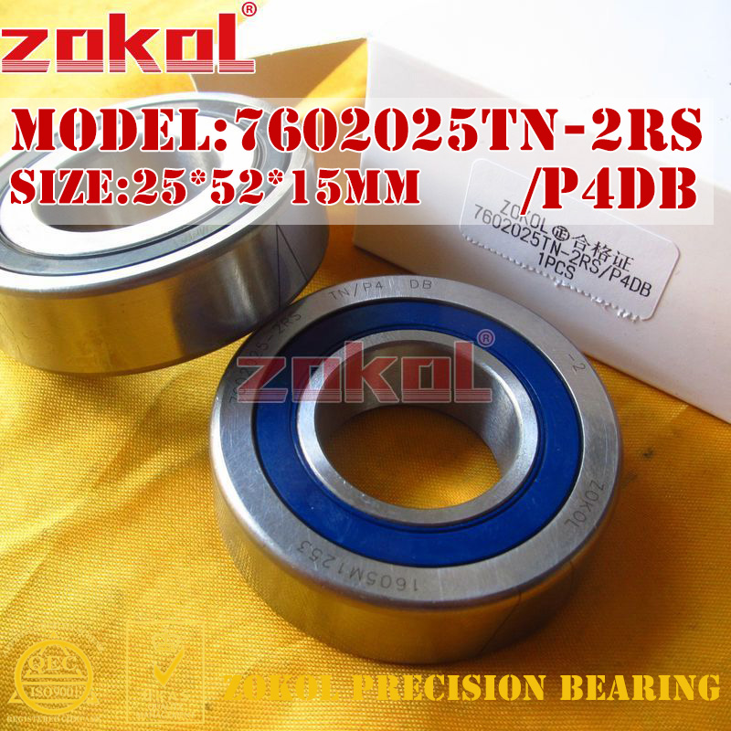 ZOKOL bearing 7602025 TN 2RS P4 DB C 760205 2RSDB Axial Angular Contact Ball Bearing 25*52*15mmZOKOL bearing 7602025 TN 2RS P4 DB C 760205 2RSDB Axial Angular Contact Ball Bearing 25*52*15mm