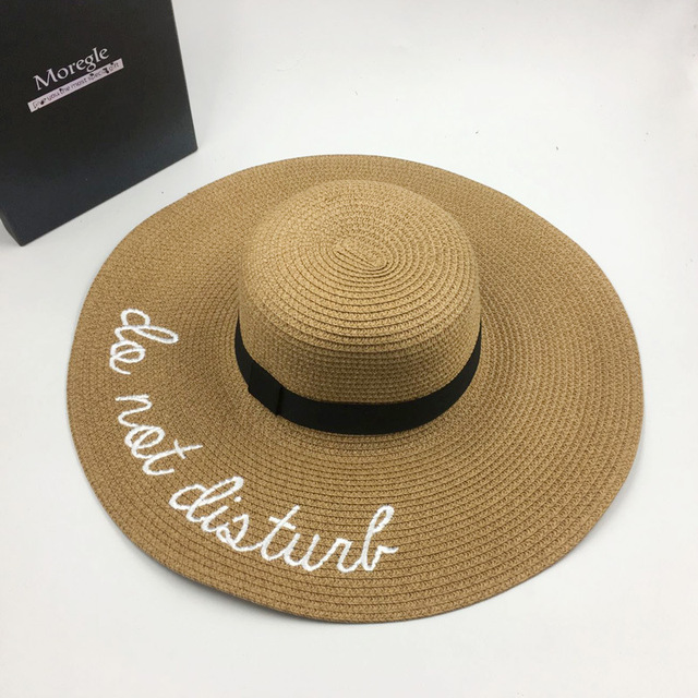badcf613b95c8 2017 summer new hot sale lady sun hat lady wide edge letter embroidery  straw hat outdoor sunscreen folding Panama hat beach hat