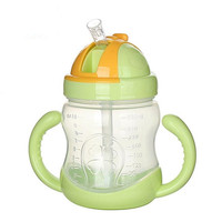 Hot 240ml Cute Baby Cup Kids Children Learn Feeding Drinking Water Straw Handle Bottle Mamadeira Sippy