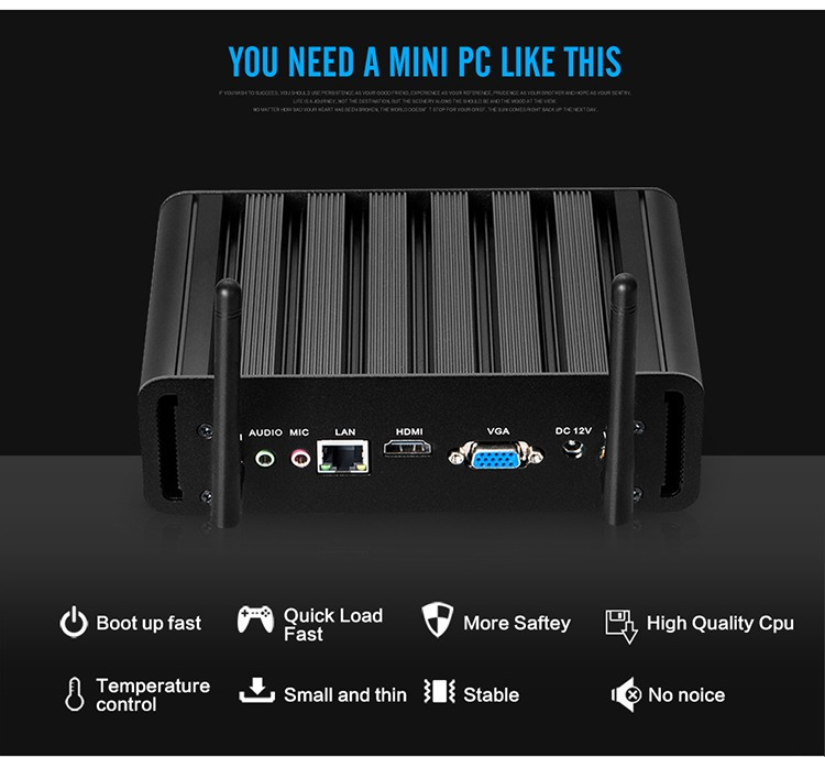XCY X31 Mini PC with Intel Core i3 4010U i5 4200U i7 4500U CPU Option and 6*USB Ports for Windows 10 Linux 8