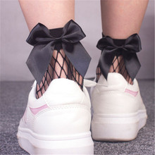 iMucci New Fashion Summer Women Ruffle Big Fishnet Ankle High Socks Bow Tie Mesh Lace Fish Net Short Socks Chaussettes fish mesh ankle socks with side bowknot