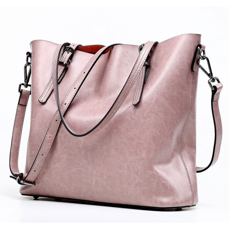 2018 Luxury Top Cow Leather Women's Messenger bag Brand Fashion Oil Wax Leather Handbag Women Shoulder Crossbody bag Casual Tote new 2017 fashion brand genuine leather women handbag europe and america oil wax leather shoulder bag casual women